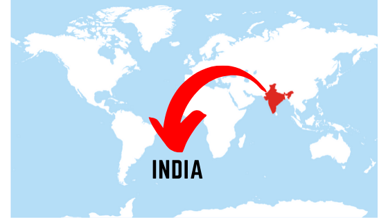India on world map